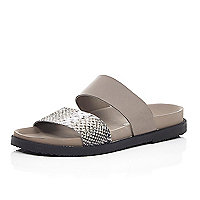 Mink and snake print strap flat sandals