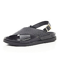Black mock croc cross strap sandals