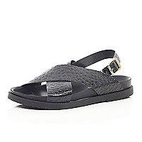 Black mock croc cross strap sandals