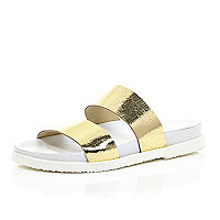 Metallic gold double strap sandals