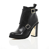 Black leather buckle gold heel ankle boots