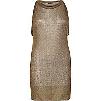 Metallic gold woven sleeveless vest