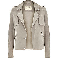 Light grey suede trench jacket