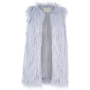 Light blue faux fur sleeveless gilet