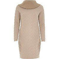 Pink body con chunk knit turtle neck dress