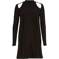 Black long sleeve cut out swing dress