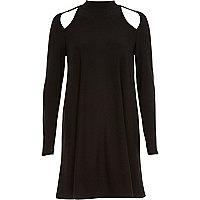 Black long sleeve cut out swing dress