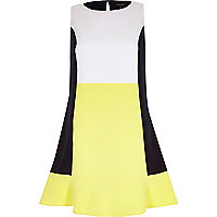 Yellow colour block peplum hem shift dress