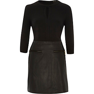 Black A-line leather-look skirt dress