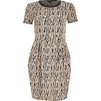 White zebra print jacquard tulip dress