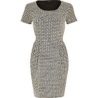 White geometric print jacquard tulip dress