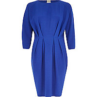 Blue waisted 3/4 sleeve dress