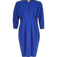 Blue waisted 3/4 sleeve dress