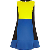 Blue colour block peplum hem shift dress