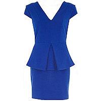 Blue peplum bodycon dress