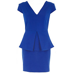 Blue peplum bodycon dress