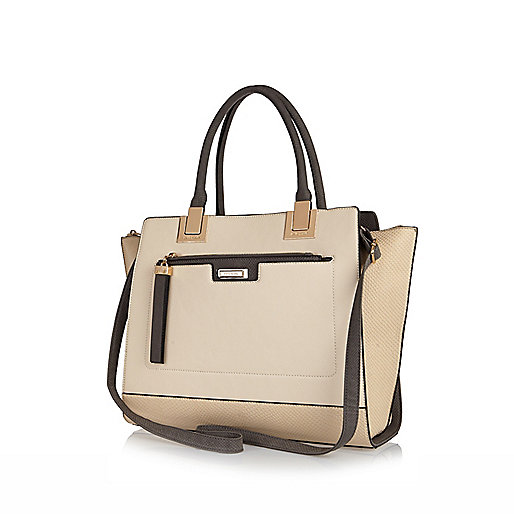 Cream large two in one tote bag