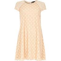 Pink mesh spot smock swing dress