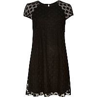 Black mesh spot swing dress