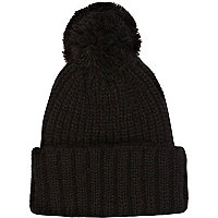 Black knitted turn up beanie hat