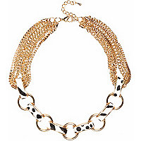 Gold tone zebra print chain necklace