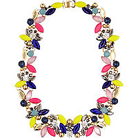 Mixed colour pop gem necklace