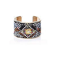 Gold tone multi-beaded cuff