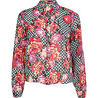 Green Chelsea Girl floral print shirt