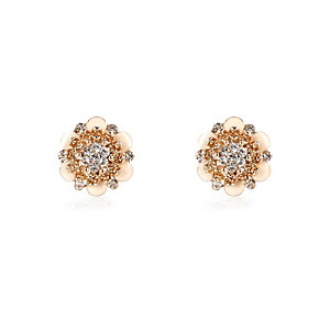 Gold tone diamante flower stud earrings