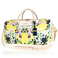 Yellow floral print weekend bag