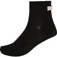 Black bow back ankle socks