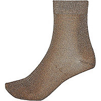 Gold sparkle ankle sock
