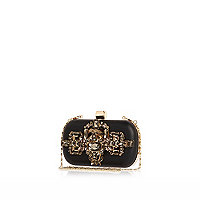 Black embellished box clutch bag