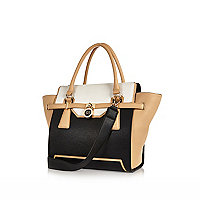 Black medium winged padlock tote bag