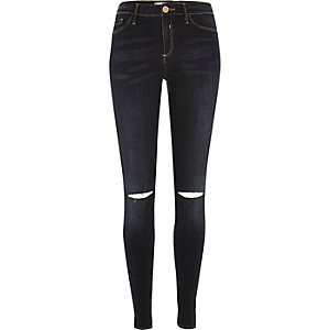 Dark vintage wash ripped knee Molly jeggings