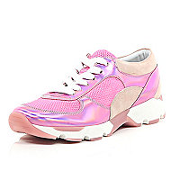 Pink suede mesh metallic lace up trainers
