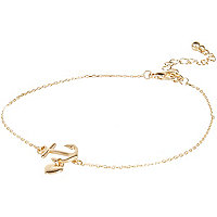 Gold tone anchor anklet