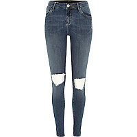 Mid wash ripped knee Amelie superskinny jeans