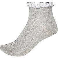 Light grey ribbon frill trim ankle socks