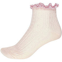 Light pink ribbon frill trim ankle socks