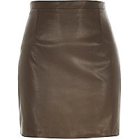 Brown leather-look A-line skirt