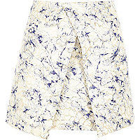 Blue print woven wrap front skirt