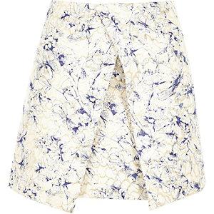 Blue print woven wrap front skirt