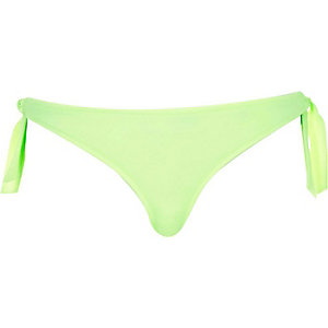 Lime tie side bikini bottoms