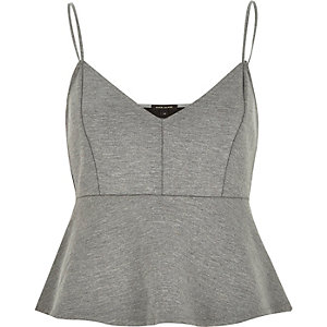 Grey jersey short cami top