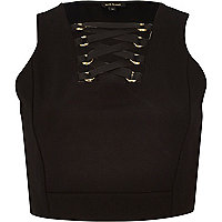 Black eyelet tie crop top