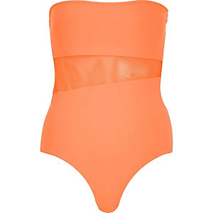 Bright orange mesh insert bandeau swimsuit