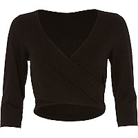 Black long sleeve wrap top