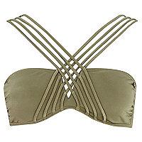 Khaki Pacha padded cross strap bikini top