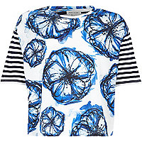 White floral and stripe boxy t-shirt